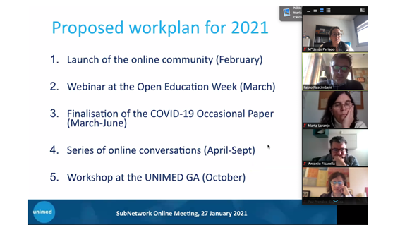 Proposed Workplan for 2021